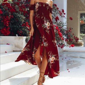 Elle Off The Shoulder Burgundy Floral Dress 👗